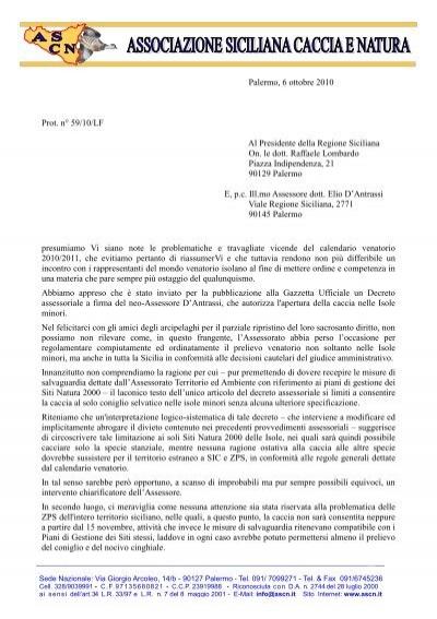 Calendario Venatorio Sicilia.Lettera Al Presidente Lombardo Associazione Siciliana
