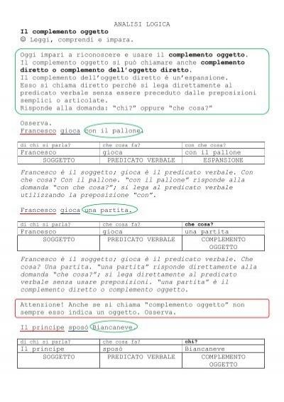 ANALISI LOGICA Il complemento oggetto Leggi     - La Teca