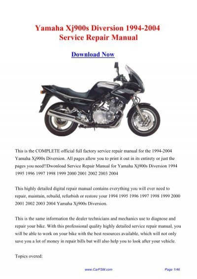 yamaha xj900s diversion 1994 2004 service repair. Black Bedroom Furniture Sets. Home Design Ideas