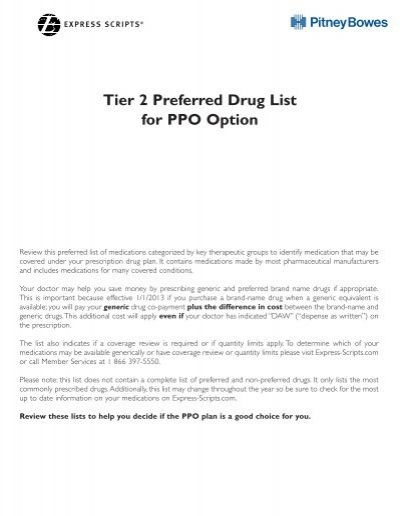 2013 Ppo Tier 2 Drug List Pitney Bowes Project Living