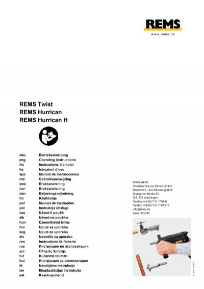 REMS Tiger ANC SR Operating Instructions Manual