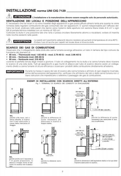 Installazione norma uni c for Stufe a gas argo