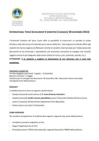 thesis scholarship unicatt