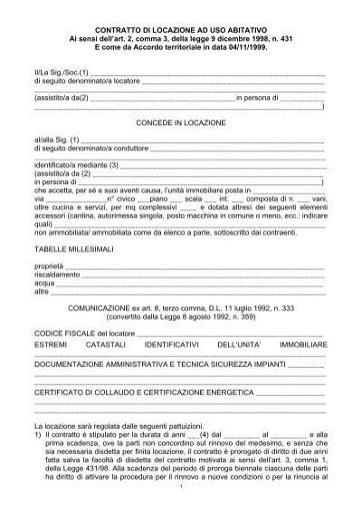 Contratto di locazione ad uso abitativo ai sensi dell 39 art for Contratto di locazione