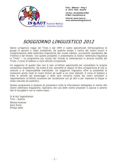 SOGGIORNO LINGUISTICO 2012 - In & Aut Soggiorno Linguistico