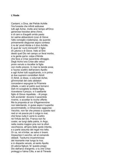 L 39 iliade cantami o diva del pel de achille l 39 ira funesta libr rsi - Cantami o diva ...