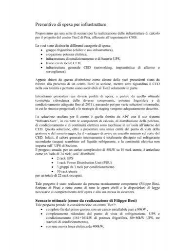 Preventivo di spesa per infrastrutture infn for Preventivo impianto elettrico pdf