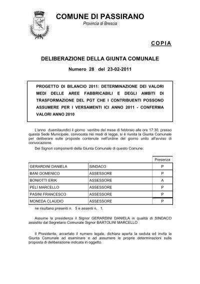 Valori Aree Anno 2011 Comune Di Passirano