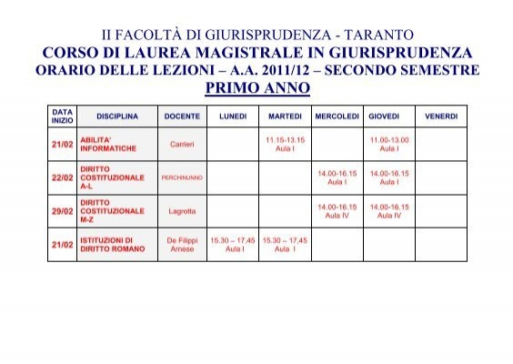 Calendario Lezioni Uniba.Orario Delle Lezioni A A 2011 2012 Dipartimento Di