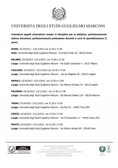 CLICCA QUI per scaricare il Calendario Esami   Università degli