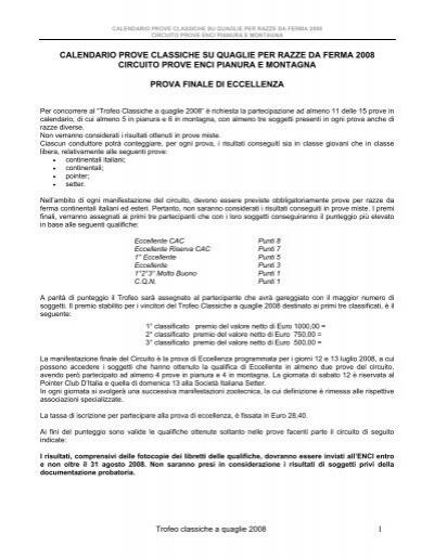 Enci Calendario Prove.1 Calendario Prove Classiche Su Quaglie Per Razze Da Ferma