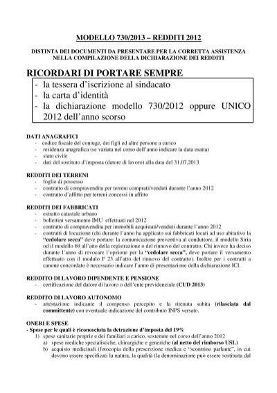 La dichiarazione modello 730 201 for 730 dichiarazione