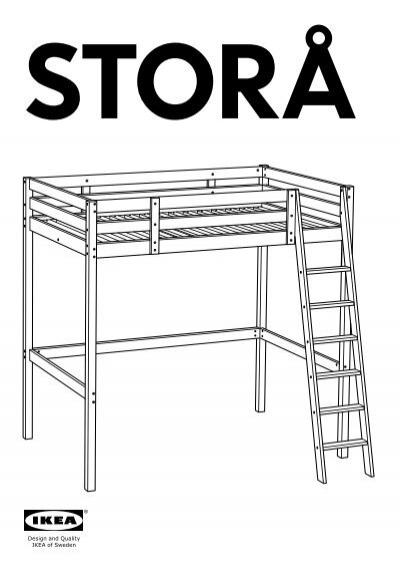 Ikea stor struttura per letto a soppalco 00160866 istruzioni di montaggio - Istruzioni letto ikea ...