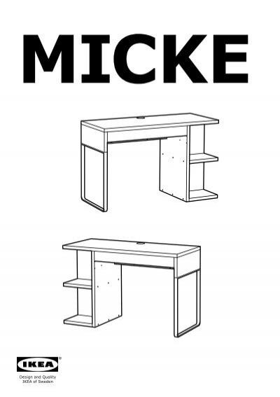 ikea micke scrivania con contenitore 20244851 istruzioni di montaggio. Black Bedroom Furniture Sets. Home Design Ideas
