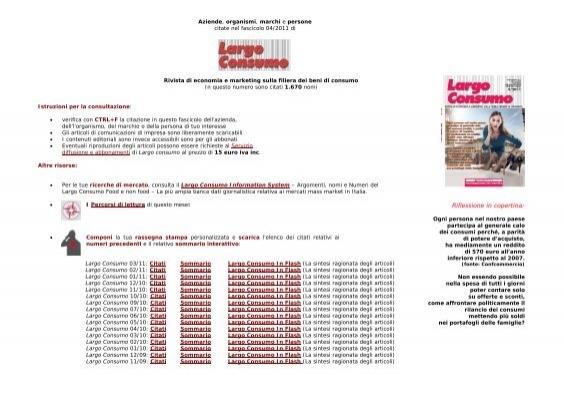 Largo Consumo 042011: Imprese, Marchi, Persone e Organismi