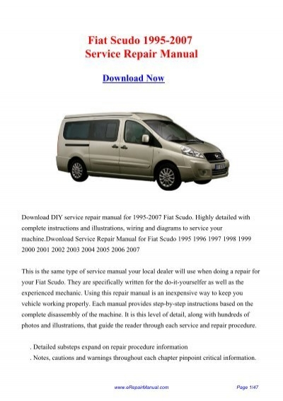 fiat scudo 1995 2007 service repair manual rh yumpu com repair manual scion tc repair manuals download for international td6