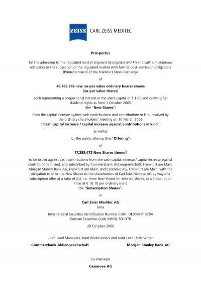 Prospectus - Carl Zeiss Meditec AG - Carl Zeiss, Inc