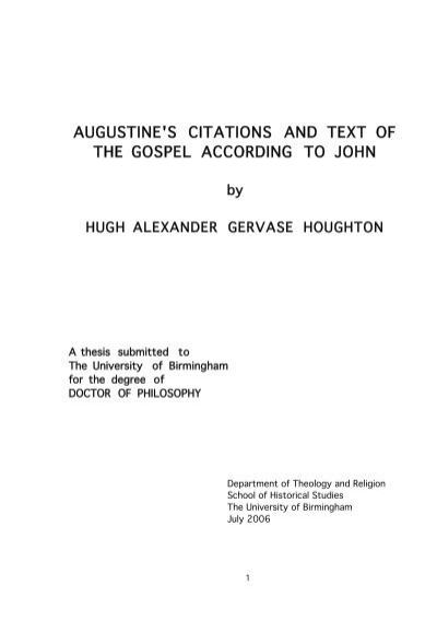 Augustine S Citations And Text Of The Gospel According To John