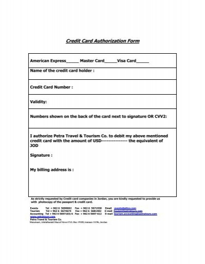 credit card authorization form petra travel tourism
