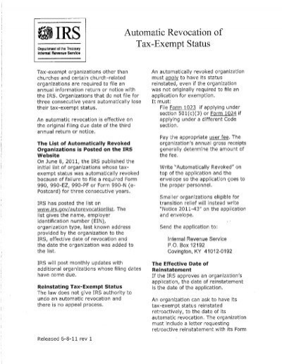 Irs Automatic Revocation Of Tax Exempt Status