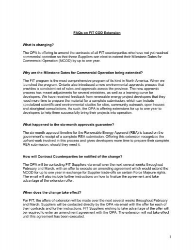 Faqs On Fit Program Cod Extension Ontario Power Authority