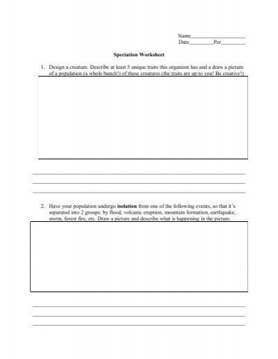 Speciation Worksheet