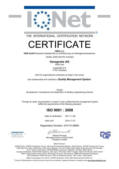 Quality management certificate - Hansgrohe