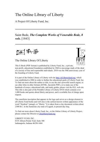 The Complete Works Of Venerable Bede 8 Vols Online Library Of