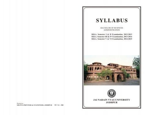 syllabus jnvu Faculty of arts syllabus bachelor of arts ba part i examination jodhpur national university jodhpur contents: examination scheme & syllabus for bachelor of arts.