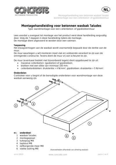 Montagehandleiding voor betonnen wasbak Taludes  Concr3tecom # Wasbak Montage_202843