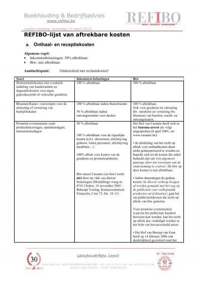 Boekhouding & Bedrijfsadvies REFIBO-lijst van aftrekbare kosten