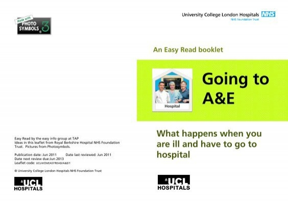 Going To A And E Easy Read University College London Hospitals