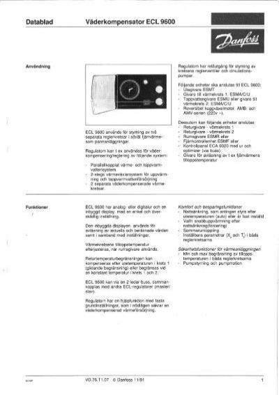 datablad vaderkompensator ecl 9600 rh yumpu com  danfoss ecl 9600 pdf