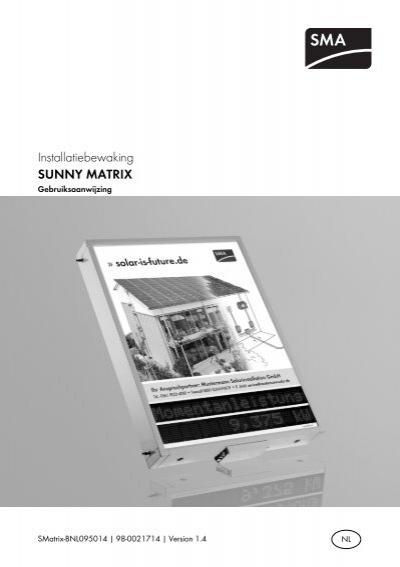 sunny matrix gebruiksaanwijzing sma solar technology ag. Black Bedroom Furniture Sets. Home Design Ideas