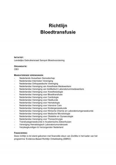 Richtlijn Bloedtransfusie Nvic