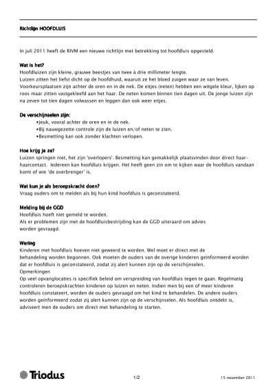 12 Richtlijn Hoofdluis Richtlijn Hoofdluis In Juli 2011 Triodus