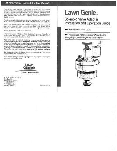 Richdel sprinkler valve manual