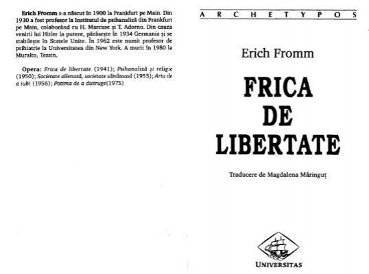 erich fromm frica de libertate