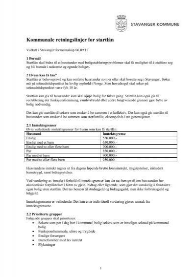 Kommunale Retningslinjer For Startlan Stavanger Kommune