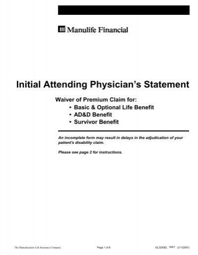 Initial Attending Physician's Statement