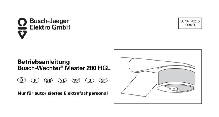 master 280 hgl busch jaeger elektro gmbh. Black Bedroom Furniture Sets. Home Design Ideas