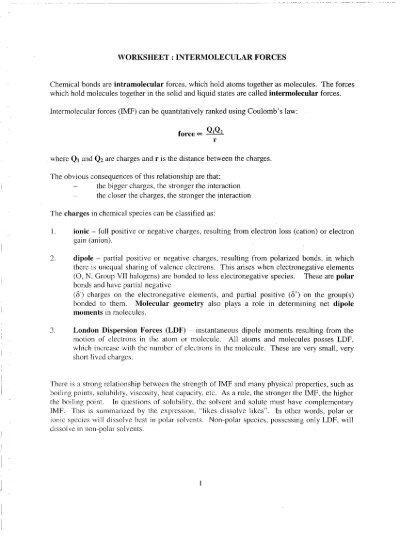 Intermolecular forces worksheet pdf