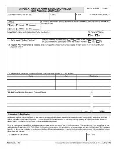AER Form 700 - Fort Sill MWR