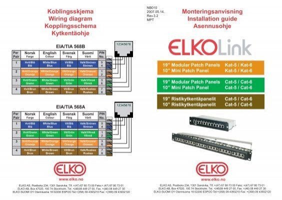 koblingsskjema wiring diagram kopplingsschema ... - elko as cat 5 patch panel wiring diagram free download
