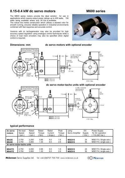 Industrial Dc Servo Motor M600 Series Datasheet Mclennan
