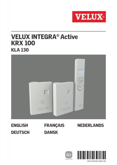 Velux integra active krx 100 for Program velux remote control