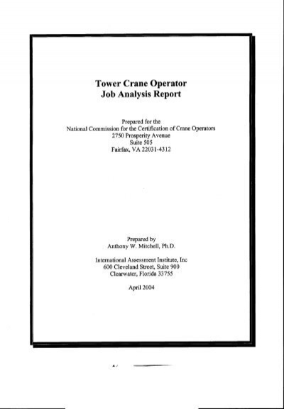 Tower Crane Operator Job Analysis Report  Nccco