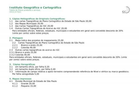 07c34430d1 Veja a tabela de preços. - Instituto Geográfico e Cartográfico
