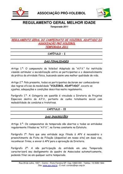 REGULAMENTO GERAL MELHOR IDADE - Associação Pró Voleibol