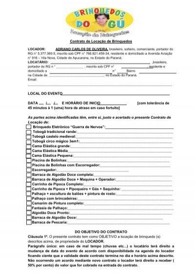 Conhecido Contrato de Locação de Pacote de Brinquedos AN58